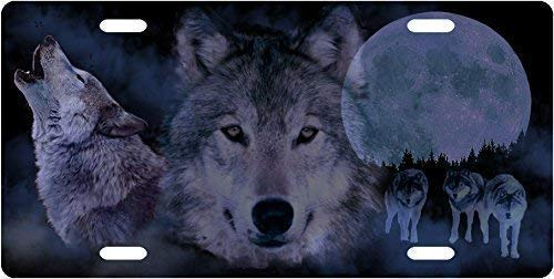 Cara King Wolf Pack Front Metal Aluminum License Plate Vanity car Tag Home Door Sign 6