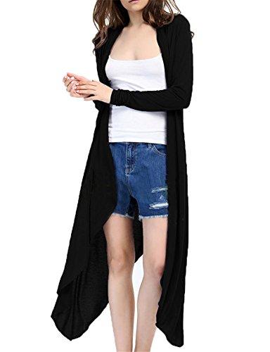Femme Cardigan Veste Ouverte à Manches Longues Gilet Casual Printemps Automne Noir