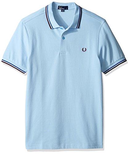 Fred Perry Herren Poloshirt mit Doppelspitzen Gr. M, Glacier/Cobalt/Bramble -