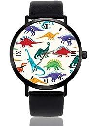 Reloj de Pulsera de Dinosaurio para Hombres y Mujeres, Correa de Piel Casual, analógico