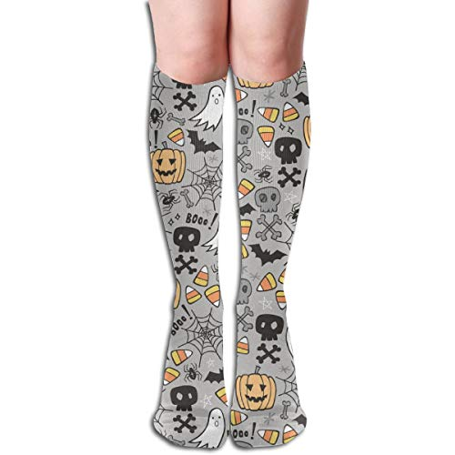 Stocking Halloween Doodle With Skulls,Bat,Pumpkin,Spider Web,Ghost On Light Grey Tiny Small Multi Colorful Patterned Knee High Socks 19.6Inchs ()