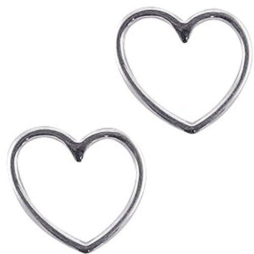 DQ Metallanhänger, Schmuckverbinder, Zwischenstück - 'Herz' - 2 Stk. - 15 x 16 mm - Zamak, vergoldet oder versilbert - europäische Designer Qualität - Farbe wählbar , Farbe:Silber
