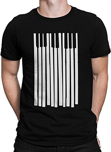 vanVerden Unisex T-Shirt XS-5XL Piano / Klavier / Keyboard Tasten , Größe:L, Farbe:Schwarz