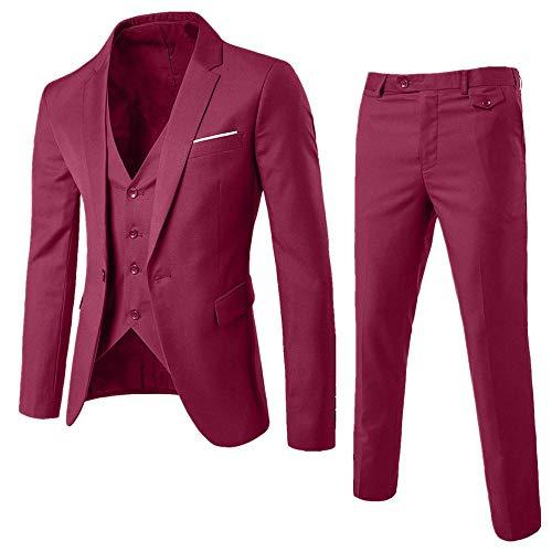 Logobeing Trajes de Hombre para Boda Slim Suit Chaqueta Delgada de 3 Piezas Blazer de Negocios Banquete...