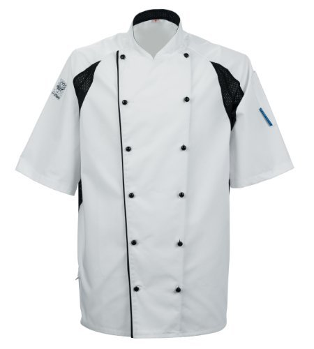 Le Chef De11 Kochjacke Staycool Weiß Mit Schwarz Coolmax Panele - Weiß, S - Tunika Chef Mantel