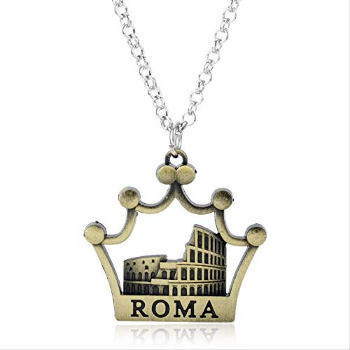 MaiYY WH Europäische Und Amerikanische Schmuckkreative Retro Italiener Colosseum Colosseum Architekturmodell Anhänger Halskette