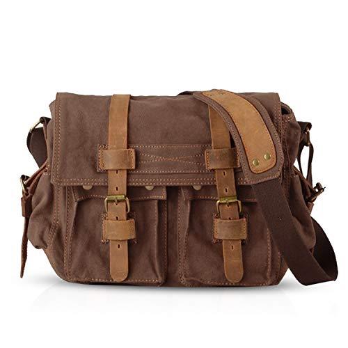 FANDARE Unisex Umhängetasche/Laptoptasche 14 Zoll für Arbeit Herren Messenger Bag Schultertasche Multifunktions Reise Canvas Braun