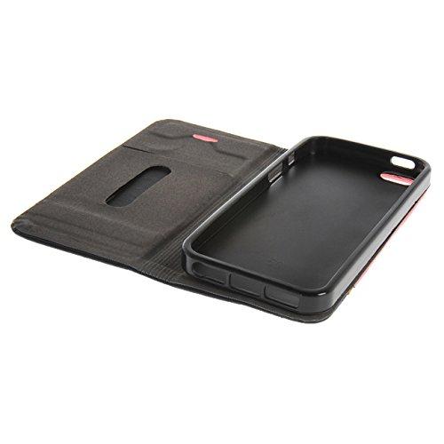 MOONCASE Étui pour iPhone 5 / 5S Housse de Portefeuille Coque en Cuir Protection Case à rabat Doré Rose #1104
