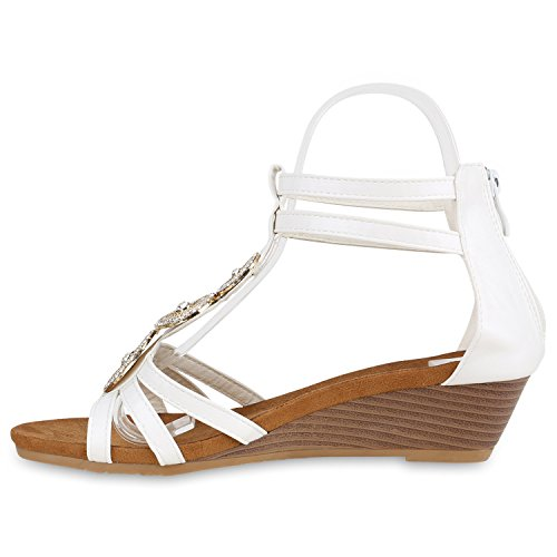 Bequeme Damen Keilsandaletten Strass Sandaletten Keilabsatz Weiss Broschen