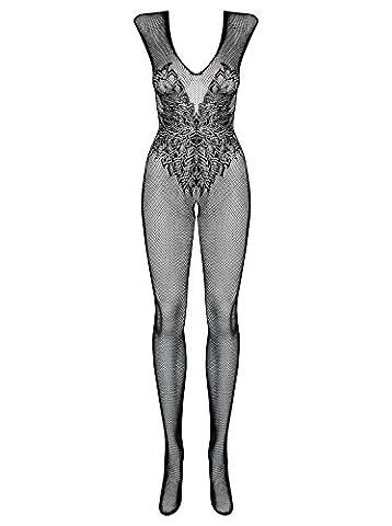 Erotischer transparenter Damen Dessous Bodystocking in schwarz elastisch Body mit Spitzen Muster Größe: