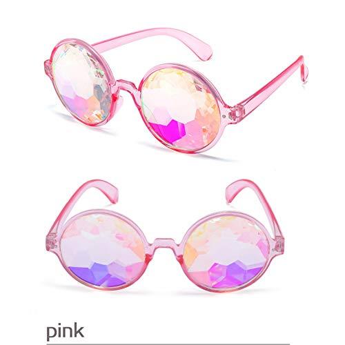 ADGJLI Mode Runde Bunte Kaleidoskop Sonnenbrille Frauen Männer Celebrity Party Designer Eyewear Einzigartige Kaleidoskop Brille