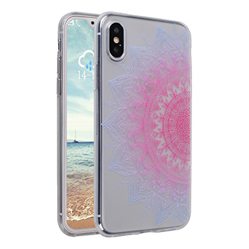 iPhone X Tasche, iPhone X Tasche Silikon, iPhone 10 Tasche Silikon, Moon mood® Gemalt Entlastung Relief Design Silikon Hülle für Apple iPhone 10 X 5.8 Zoll Thin Dünn Weich TPU Schutz Etui Cover, Flexi Muster 13