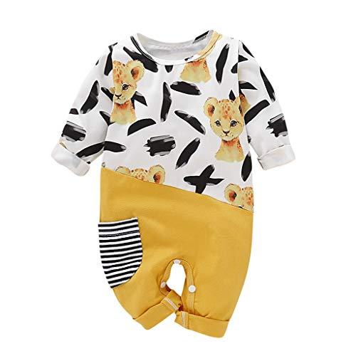 Livoral Baby Wintermantel Overall Neugeborenes Baby-Jungen-Karikatur-Tier, das gestreiften Taschen-Overall näht(Gelb,6-12 Monate)
