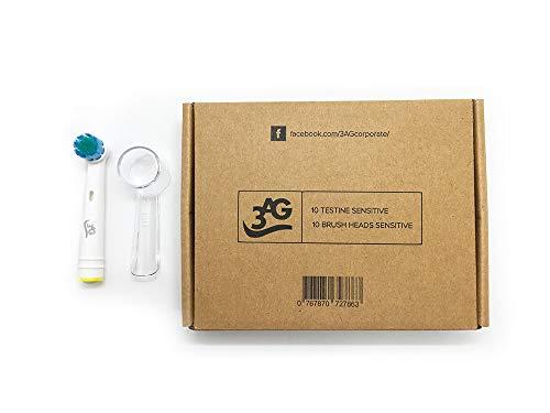 10 testine di ricambio oral b compatibili sensitive generiche 3ag + 10 copritestine di protezione igienici per spazzolino elettrico oral-b sensitive, professional care, vitality, ecc