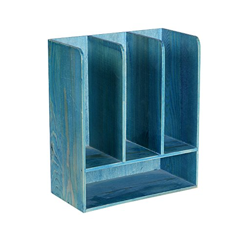 Porte-magazines et porte-journaux Étagères De Revues Retro Solid Wood Decoration Incorporated Sort Out Étagère Bleu Brun Naturel Rouge Blanc (Couleur : Bleu)