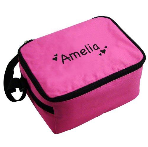 Personalizzato Cuori Rosa-Borsa portapranzo nero, una fantastica idea regalo per bambini, per bambini e tornare a scuola, Ragazze-Personalizzato per te, per libero
