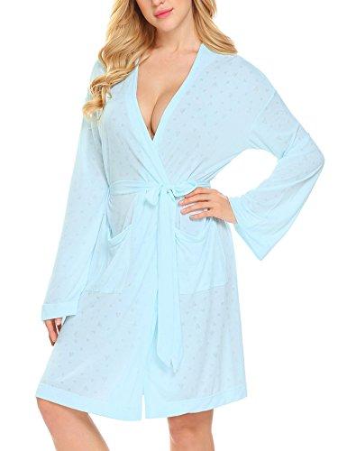 ADOME Bademantel Kimono Damen Kurz Morgenmantel Langarm Bademantel mit Gürtel Nachthemd Nachtwäsche V-Ausschnitt