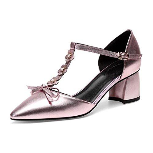 MUMA Pumps Sandalen Frauen Sommer Bow Medium Heel Spitze Hohle Keilabsatz Pink Silber (Farbe : Pink, größe : EU38/UK5.5/CN38) -