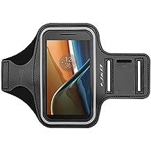 Moto G4/G4 Plus Brazalete, J&D Brazalete Deportivo para Motorola Moto G4, Moto G4 Plus, Ranura para Llaves, Conexión Perfecta con Auriculares mientras Ejercicios y Carreras - Negro