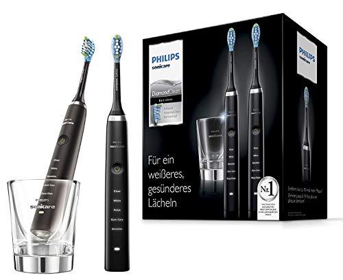 Philips Sonicare hx9357/87Diamond Clean nouvelle génération Brosse à dents sonique électrique avec chargement Verre, Lot de 2, noir