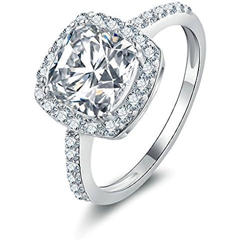 (Personalizzati Anelli)Adisaer Anelli Donna Argento 925 Anello Fidanzamento Incisione Gratuita Ovale Doppio Anello Diamante