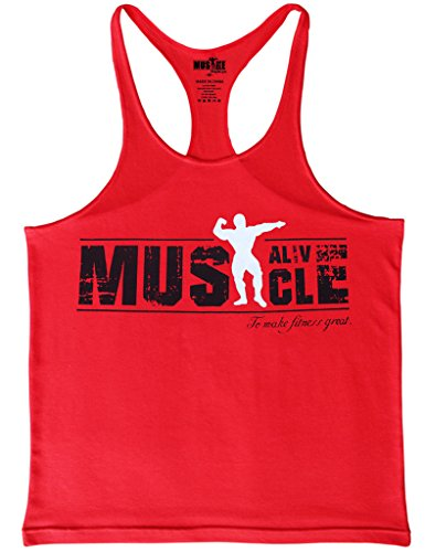Musclealive Mens Bodybuilding Tank Top 2cm Strap dehnbares Material aus Baumwolle Farbe Red Größe Small (Tank Athletic Farbe Top,)