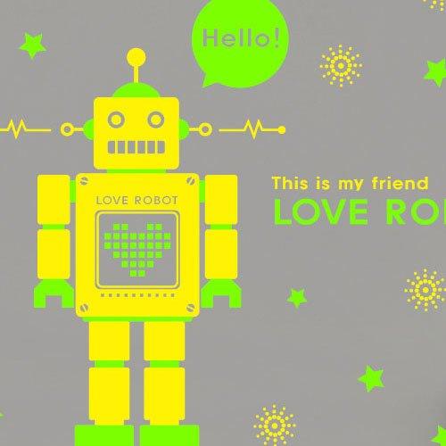 HCCY Eine zweifarbige Robot Aufkleber Kinderzimmer Technologie Unternehmen angepasste Glas Wandaufkleber Kinderzimmer Geschenk-62 * 120 cm, zitrone gelb + Lime Green (Gläser Lime Green)