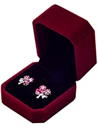 Greenlans Red : Jewelry Earring Ring Display Storage Organizer Square Lid Open Box Case Gift