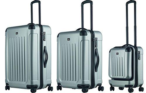 JSA 3er Reisetrolley-Set aus ABS - Polycarbonat Mix, je 4x 360° Leichtlaufrollen Koffer, 70 cm, 170 L, Silber Matt