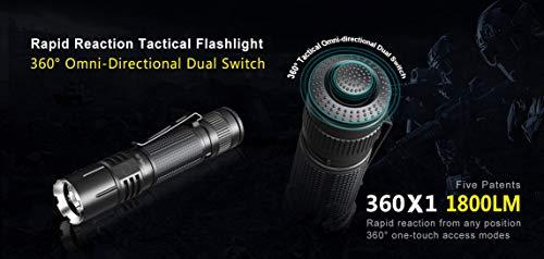 Klarus 360X1 XH-35 HD LED 1800 Lumen aufladbare Taktische Taschenlampe