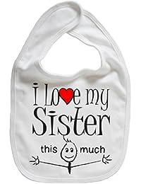 IiE, I love my Sister this much, Boy Girl Unisex Feeding Bib