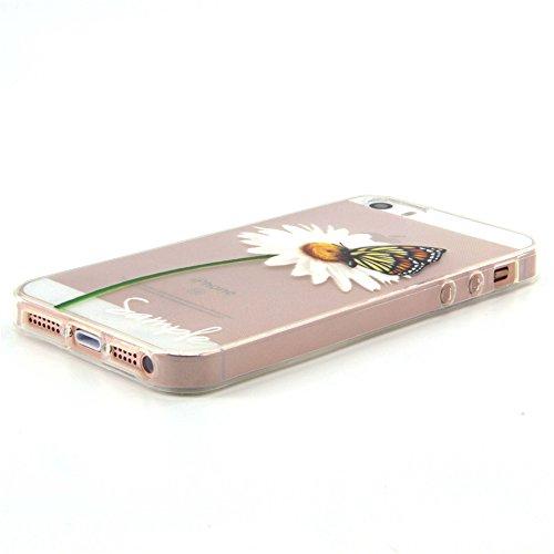 iPhone 5s Hülle Durchsichtig, LuckyW TPU Handyhülle für Apple iPhone 5/5S/SE Soft Silikon Tasche Transparent Schale Clear Klar Hanytasche Durchsichtig Rückschale Ultra Slim Thin Dünne Schutzhülle Weic Weiß Chrysanthemen