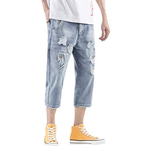 Jeans Hose hohe Taille für Herren Loose Denim Cotton Straight Hole Hose Distressed Jeans 3/4 Länge Hosen blau 34 -