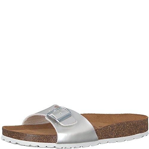 Tamaris 1-1-27512-30 Damen Pantolette, Clogs, Sandale, Sommerschuhe für Die Modebewusste Frau Metallic (Dull Silver), EU 37