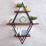 HOJHJKK Wandregal aus Eisen und Eisen aus Rhombus mit 3 Regalen für Schlafzimmer/Bücherschrank/Küche/Wohnzimmer/Kaffee, H80cm