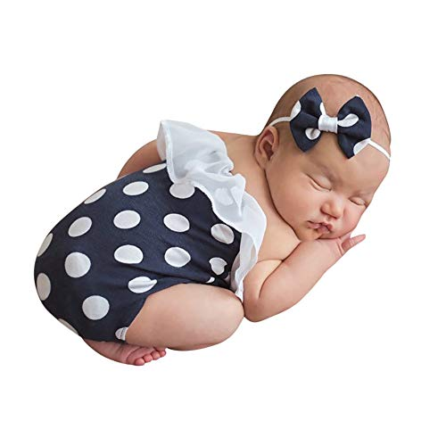 H.eternal Baby-Mädchen Strampler Overall Bowknot Stirnbänder Perle Armbänder 3 PC Outfit Body Gestrickt Geburtstag Geschenk Foto Kostüm Fotografie Prop - Nicht Pc Kostüm