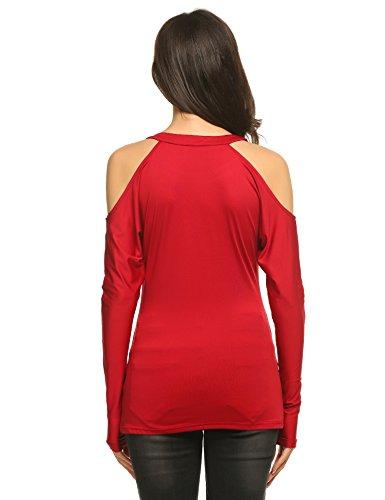 Zeagoo Damen Langarmshirt Pullover Glitzer Party Shirt Perlen Pailletten Tunika mit Schulter-Cut-Outs Weinrot