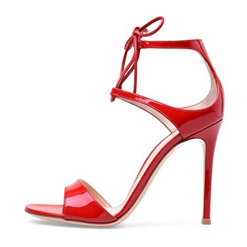 LYY.YY Damen Sandale Sankle Strap Rotes Lackleder mit Super High Heel Tasche mit Sandalen Abend Schuhe.LYY.YY,Red,45 -