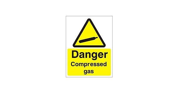 Gaz Comprimé Hazard Warning Sign Autocollante Signe 100 mm x 100 mm