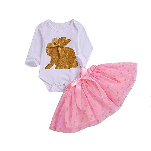 Baby Mädchen Kaninchen Print Zweiteiler, Tops Strampler Prinzessin Rock Kleinkind Kinder Langarm Klettern Kleid + Polka Dot Bowtie Kleid Outfits Set (6M-24M) Ostern (Rosa,80) (Prinzessin Zelda Kostüm Zubehör)