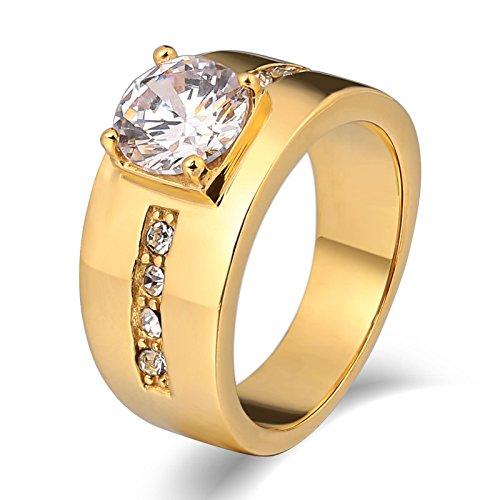Anazoz gioielli anelli uomo acciaio fede ragazzo moda stile acciaio inossidabile solitaire cubic zirconia uomo fedi nuziali acciaio incisione oro size 27
