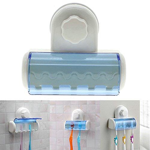 SAUGER Zahnbürstenhalter, woopower 5-hooks Saugnapf Wandhalterung Badezimmer Zahnbürste Spin Bürste Rack Ständer Halter blau (Kinder Spin-zahnbürste Für)