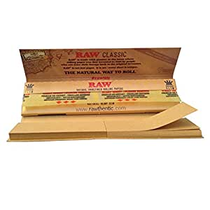 raw Raw King Size Slim Papers W/Roach Tips 5 Packs X 32 by RAW