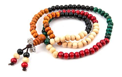 GOOD.designs Mala Perlenkette aus 108 Holzperlen, Buddhistisch Tibetisches Gebetsarmband in Rot, Schwarz, Grün oder Orange (7 Chakra Holz)
