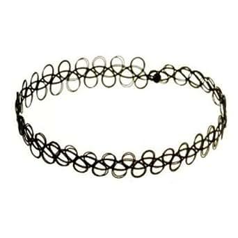 Black Vintage Stretch Tattoo Henna Choker Hippy Necklace ONLY