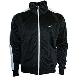 Track Jacket - Hombres con estilo y calidad de estilo retro chaqueta de chándal por ROCK-IT - en diferentes colores - Tamaño S-XXXL - Color Negro Blanco - M