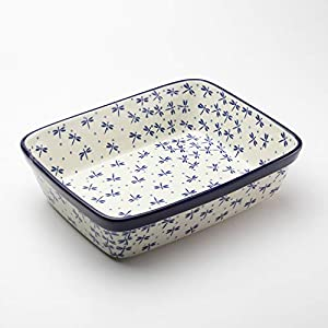 Polish Pottery Rectangular Lasagne Dish Dragonfly 25 x 19cm