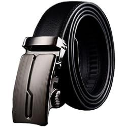 Panegy - Cinturón Clásico de Piel Cuero con Hebilla Automática Para Hombres - Negro - 130cm