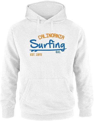 EZYshirt Surfing California Herren Hoodie Weiss/Blau/Orange