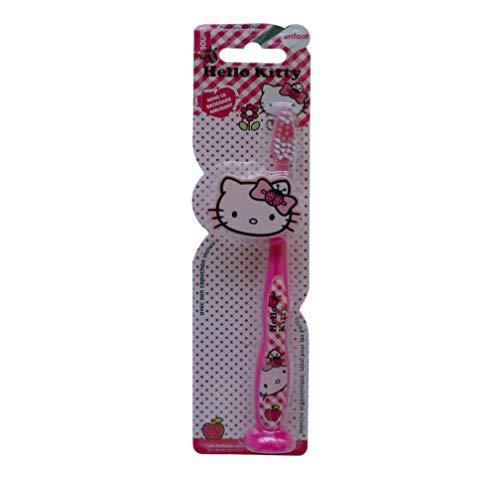 Tinou Hello Kitty Zahnbürste, ergonomisch, mit Schutzkappe und Saugnapf, 4 Stück